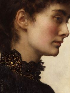 John Maler Collier  (1850 - 1934) - Portrait of Marian Huxley Collier 1883 - detail