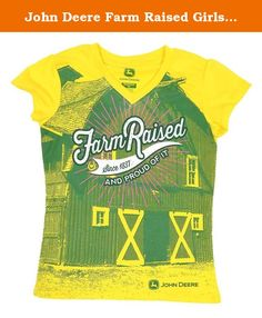 "John Deere Farm Raised Girls V-Neck T-Shirt (S(8)). Little girls ""Farm Raised"" John Deere V Neck tee with sublimated graphics."
