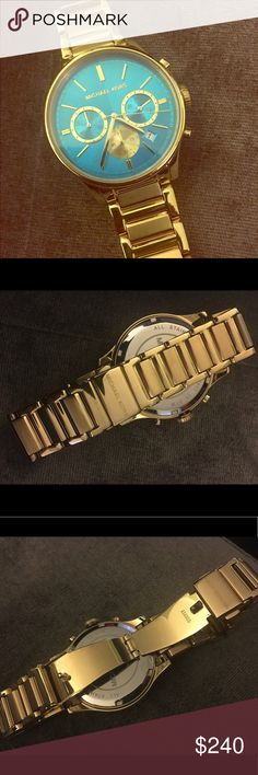 Michael Kors gold and turquoise watch Micheal Kors runway collection watch. Shows date. Gold and turquoise. Worn only once amazing condition. Michael Kors Accessories Watches