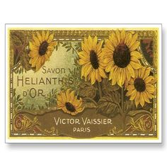 Savon Helianthis D'OR Vintage Label Art Post Cards by postershoppe