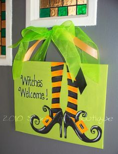 Personalized custom Halloween witch welcome door sign hand painted art boots stockings orange lime black. $12.00, via Etsy.