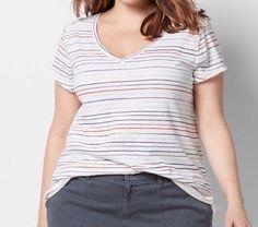 c678b942f97c SONOMA Woman V Neck Short Sleeve Stripe Tee Knit Top T-Shirt Plus Sz 2X