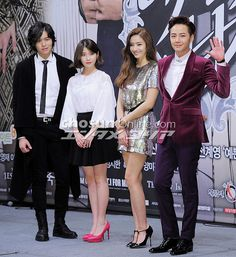 Pretty man korean drama press conference.   Jang Keun-suk:Dokgo Ma Te IU:Kim Bo Tong Lee Jang-woo:David Choi Han Chae-young:Hong Yoo Ra