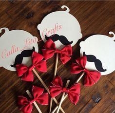 Red Little Man theme set for centerpieces. babies with mustache.   https://www.etsy.com/shop/CallaLitaCraftShop  https://instagram.com/calla_lita_crafts/