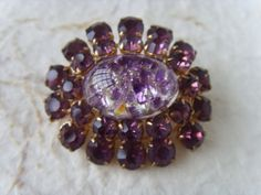 Vintage Soviet Purple Brooch Made in USSR in 1960s by Astra9