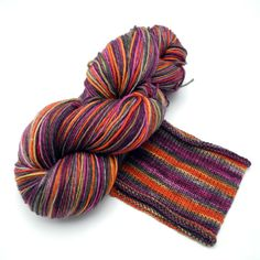 66 Sunset Watercolor Stripes Self-Striping Sock Yarn Made to