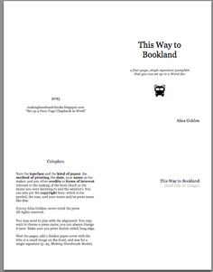 Making Handmade Books: Set up a Four-Page Chapbook in Word by Alisa Golden