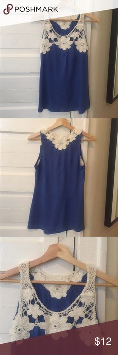 Floral Tank 🌻 Beautiful Summer Tank Top. Blue with white lace floral detailing on front and back. Size Small. Couple stitches missing on bottom of shirt, shown in photo. Great Condition! Tops Tank Tops