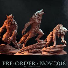 A set of 3 meticulously detailed werewolves! Werewolf Tattoo, Werewolf Art, Magical Creatures, Fantasy Creatures, Imprimente 3d, Animal Sculptures, Lion Sculpture, Of Wolf And Man, Monsters