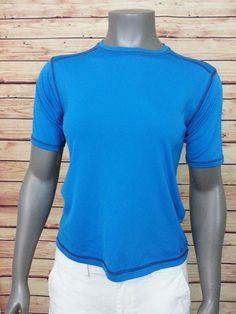 Columbia crewneck athletic shirt short sleeve womens size Medium teal blue gym #Columbia #ShirtsTops