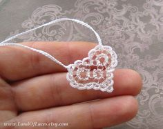 Delicate white heart necklace. Beadwork and lace wedding heart necklace by LandOfLaces #tattedheart #weddingheart #heartpendant #laceheart