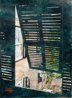 """green room - open shutter waterville bda 22"""" x 16"""" micheal zarowsky mixed media watercolour / acrylic pained directly on gessoed birch panel / private collection"""