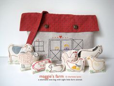 pdf pattern by Charlotte Lyons - a stitchable barn tote and eight little farm animals to go inside