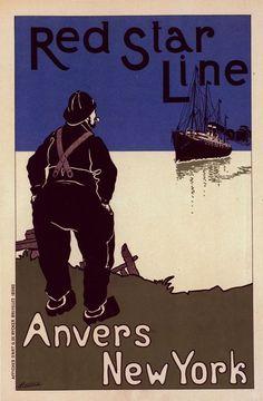 Affiche Belge, Red Star Line, 1896-1890, Cassiers, Henry (1858-1944) (Artist)