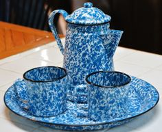 Blue & White Splatterware Enamel Vintage Coffee Pot, 2 cups & Platter Set