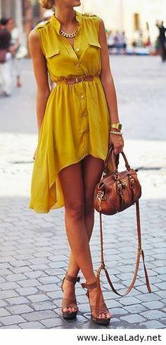 Sleeveless mustard dress