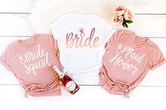 Bachelorette Shirts Bride Squad Bridesmaid Shirt Bachelorette Party Shirt Bride Shirt Bridesmaid Gift Wedding Party Gift Bridesmaid Proposal - Trend Design Home App 2019 Bride And Bridesmaid Shirts, Team Bride Shirts, Bridesmaid Proposal, Brides Maid Shirts, Bridesmaid Hair, Wedding Bridesmaids, Bridesmaid Gifts, Wedding Party Shirts, Gifts For Wedding Party