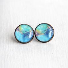 Nebula Jewelry, Space Earrings, Large Stud Earrings, Nerdy Earrings, NASA, Resin Earrings, Fake Plugs. $17.00, via Etsy.
