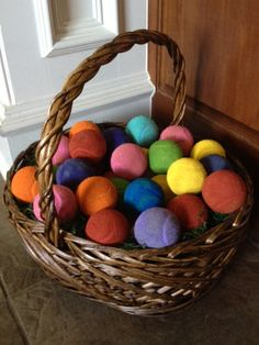 Color used tennis balls at Easter