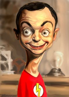 Is that a creepy Sheldon, or what...other drawings of the gang on here as well.