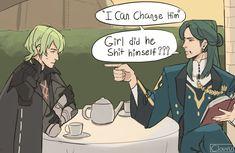 "clouvu 🏳️🌈🐸 on Twitter: ""Im so sorry lmao #dimileth #fe3h… "" Stupid Memes, Funny Memes, Black Eagle, Fire Emblem Characters, Blue Lion, Funny Comics, Cute Guys, Anime, Fictional Characters"