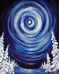 Easy Winter Painting On canvas 2014 Kathryn Beals Canvas Painting Projects, Christmas Paintings On Canvas, Easy Canvas Painting, Christmas Canvas, Easy Paintings, Christmas Art, Diy Painting, Landscape Paintings, Art Projects