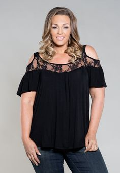 Plus Size Tops | Stacy Cold Shoulder Top in Black | #PlusSize #Curvy #PlusSizeClothing Shop www.curvaliciousclothes.com
