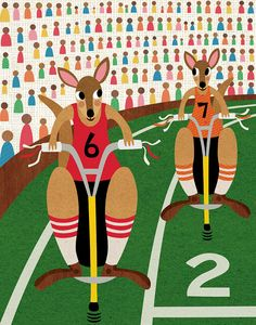 Kangaroo+Pogo+Stick+Race by+lisadejohn Pogo Stick, Picture Writing Prompts, Childrens Room Decor, Cute Illustration, Kids Playing, Nursery Decor, Terrier, Racing, Kids Rugs