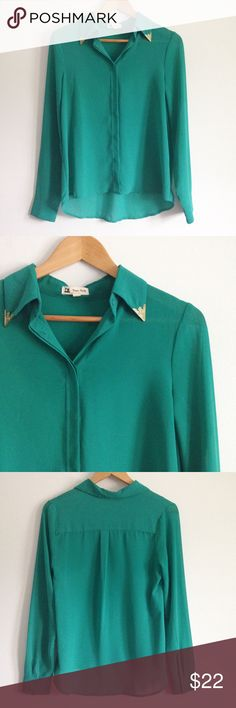 """ModCloth Emerald Green Button Down Top Perfect for all occasions! This emerald green sheer button down top features an embellished collar reminiscent of the old West.  Pair with a pencil skirt for the office, or black skinnes for a night out! Cotton Candy brand from ModCloth. Size small, 100% polyester. Great condition! Laid flat, measures 19"""" wide, 24"""" long in the front, 27"""" long in the back. ModCloth Tops Button Down Shirts"""