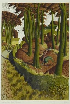 Artwork by Simon Palmer, 'Hunting for Ceps', Made of watercolour Landscape Art, Landscape Paintings, Nature Paintings, Landscapes, Naive Art, New Art, Illustration Art, Watercolor, Abstract