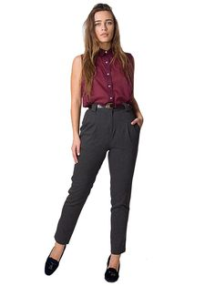 0734045fd4 American Apparel Calvary Twill High-Waist Pleated Pant - Dark Charcoal   L  at Amazon