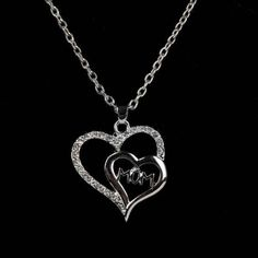 USA I Love You Mom Crystal Double Heart Charm Pendant Necklace Mother day Gifts