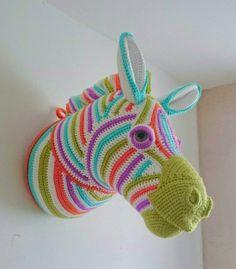 Crocheted Zesty Zebra Faux Taxidermy by GreenFoxCreations on Etsy