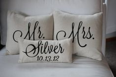Mr. & Mrs. Custom Pillow with Name and Wedding Date. $60.00, via Etsy. LOVE THIS
