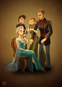 Frozen Royal Family by miacat7.deviantart.com on @deviantART - Elsa and Anna with their parents