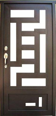 puertas de herreria minimalistas - Pesquisa Google Iron Gates, Iron Doors, Craftsman Front Doors, Steel Security Doors, Window Grill Design, Door Gate Design, Door Makeover, Steel Doors, Diy Door