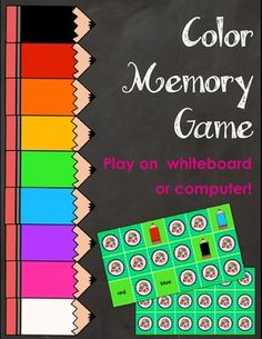 Color matching game to help the littlest learners with colors. Review with the whole class or play in small groups! My students absolutely love playing memory games on the Whiteboard. This game is a fun and easy way to incorporate technology into your classroom while reviewing colors.