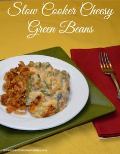 How do I make my Green Bean Casserole even better without using my oven? I use my slow cooker and add plenty of cheese. http://recipesforourdailybread.com/2012/11/10/crock-pot-cheesy-green-beans/ #green beans #slow cooker