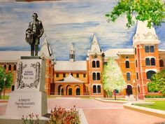 """""""Asked my 90-year-old grandpa to paint me a watercolor of #Baylor campus. One year later, I get this."""" (via Sensei322 on Twitter) #SicEm"""