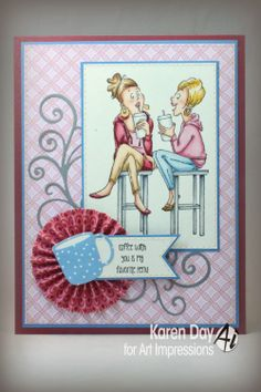 Coffee BFF's (Sku#4407) Art Impressions Ai young Girlfriends card.