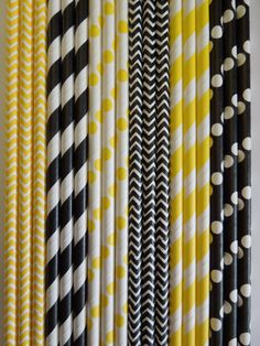 50 BUMBLE BEE Birthday Party Paper Straws Yellow & Black Stripes Dots Chevron DiY Flags- Wedding Kids Ladybug Birthday Baby Shower Bachelorette Party $5.99