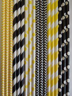 50 BUMBLE BEE Birthday Party Paper Straws Yellow & Black Stripes Dots Chevron DiY Flags- Wedding Kids Ladybug Birthday Baby Shower Bachelorette Party $5.99