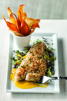 Macadamia Crusted Rainbow Trout with Mango Puree