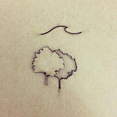 trees wave tattoo