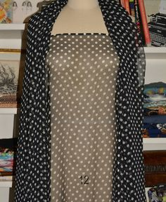 Vintage Polka Dot Fabric By The Yard See Through Sheer Black And White Chiffon For Tunic Hat Scarf Cardigan