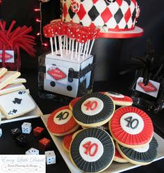 Casino Party Theme Ideas: Chip and card cookies! Dice lollipops?!?