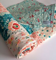 Baby Quilt, Girl, Reversible, Rapture, Subtle Joy, Cottage Chic, Coral, Aqua, Blue-Green, Art Gallery Fabrics, Baby Bedding, Crib Bedding