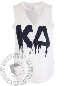 Kappa Delta Drip Letter Cut-Neck Tank by Adam Block Design | Custom Greek Apparel & Sorority Clothes | www.adamblockdesign.com