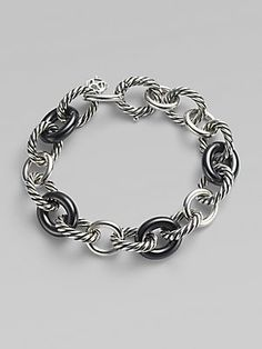 David Yurman Black Ceramic & Sterling Silver Large Oval Link Bracelet