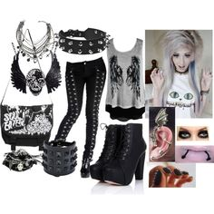 """^-^"" by bvb-army4life on Polyvore - probably minus most of the accessories but the base outfit, I like and minus the heels,"